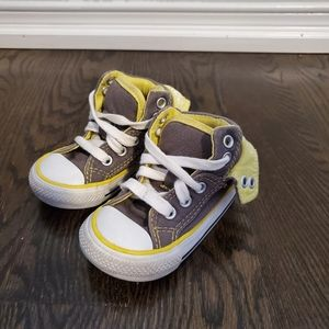 Converse Hightops Grey & Yellow Sneakers Infant Size 4